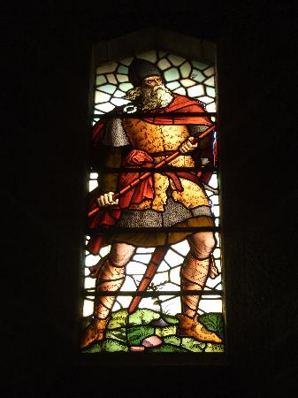 National Wallace Monument: stainglass window of a spearman,Wallace monument,Stirling,Scotland.