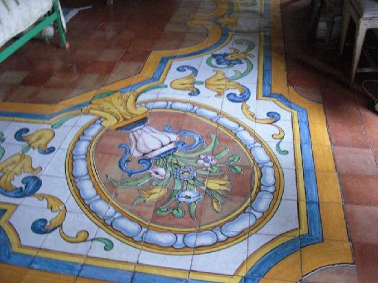 Villa Aureli: detail of hand-painted ceramic floors