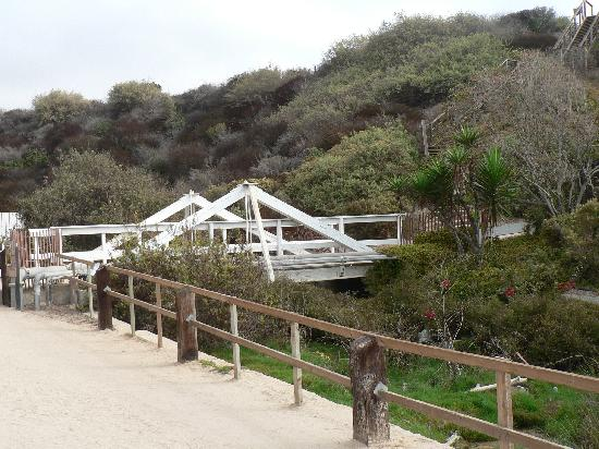 Crystal Cove Beach Cottages: Bridge to cottages