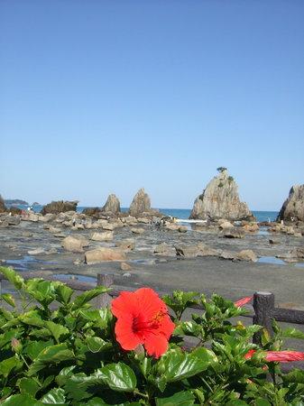 Kushimoto-cho, Japonia: 橋杭岩とハイビスカス