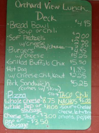 Milburn Orchards Ice Cream & Lunch Deck : Milburn Orchard View Lunch Deck Menu