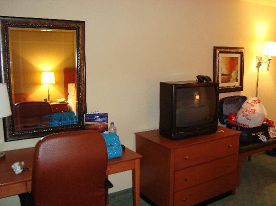Hampton Inn Alamogordo : Chair, table and TV