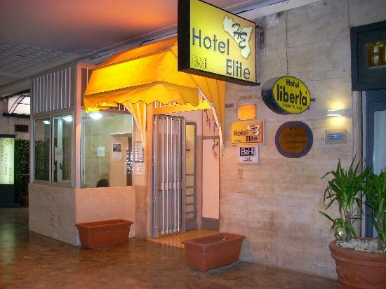 Hotel Elite entrance in the arcade