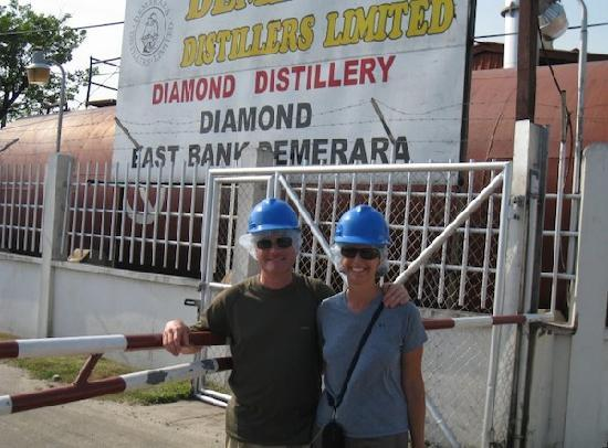Demerara Distillery: Distillery entrance - hard hats and hair nets required!
