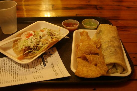 El Zarape: cost about $5.50  Carne asada burrito with a fish taco.