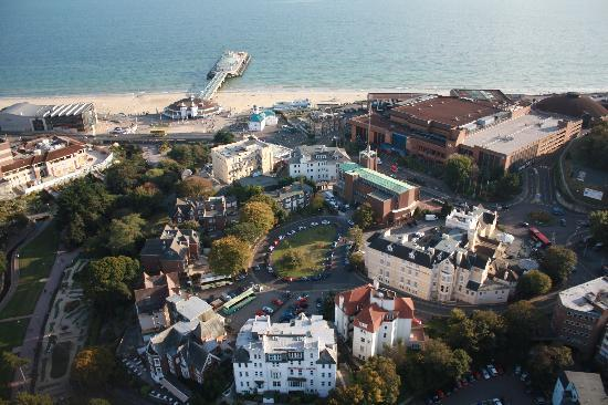 Arlington Hotel: View from the Bournemouth Eye - the Arlington is near the centre of the pic (by cream coach)