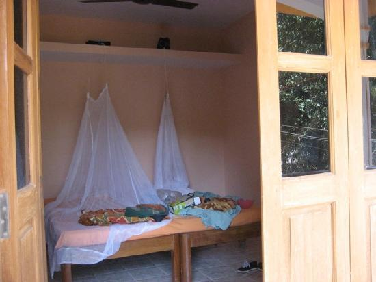 Anjuna, India: View from balcony of twin beds (our own mosquito nets)