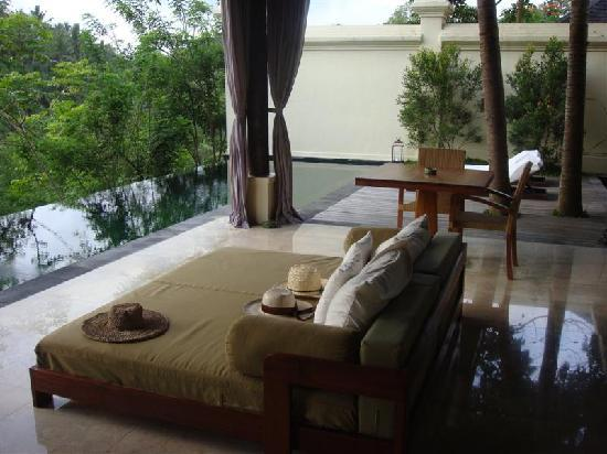 Komaneka at Bisma : looking out from the bedroom