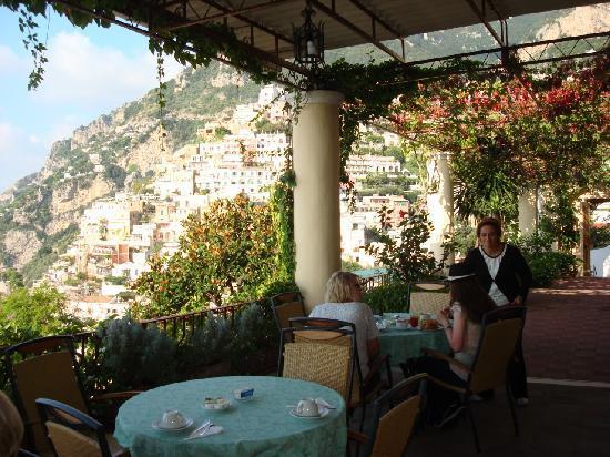 Hotel - Albergo California Positano: Maria on the patio where we had wine every afternoon.