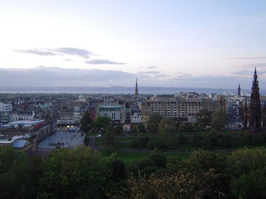 Capital View Apartments: View from apartment of the New Town across Princes St Gardens, Firth of Forth in the distance