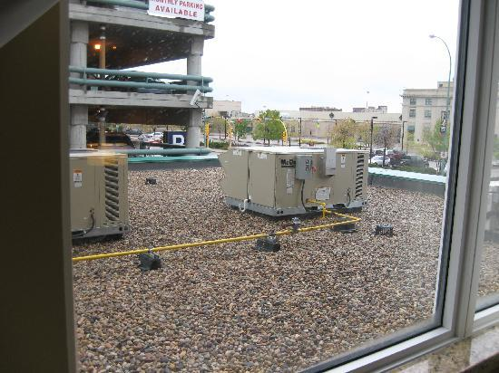 Wingate by Wyndham Regina: The downside: view of AC unit and parking garage from our window