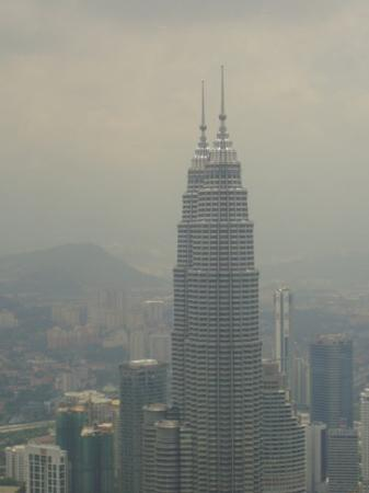 Kuala Lumpur, Malaysia. The Petronas tower   360° Aerial