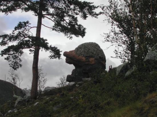 Geilo, Norway: A strange rock on the trail