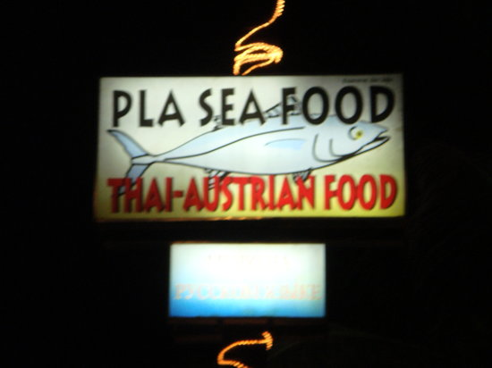 Pla Seafood: The signage of the restaurant - Surin Beach
