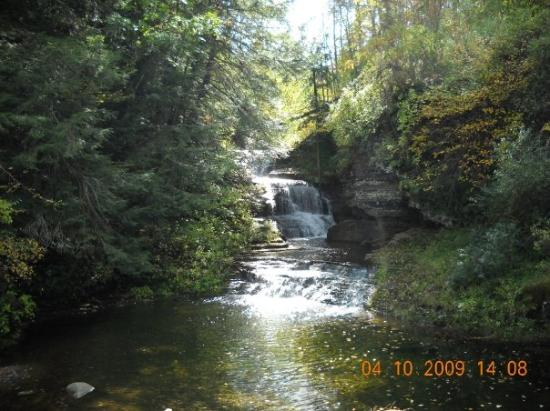 Ithaca, estado de Nueva York: A waterfall in the creek that runs through the Rober H. Treeman state park