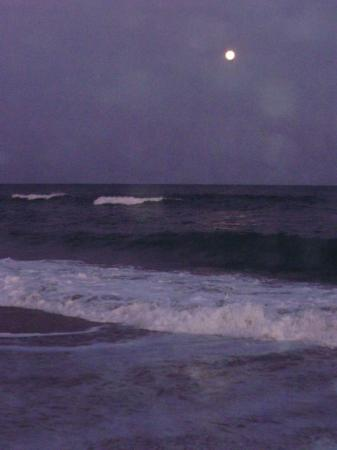 Wrightsville Beach, นอร์ทแคโรไลนา: My favorite pic at the beach.  What more can you want, the full moon and the ocean!