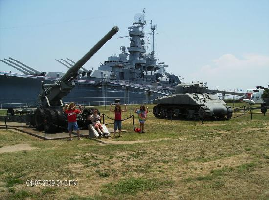 Battleship USS ALABAMA: My grandkids in front of the ship.