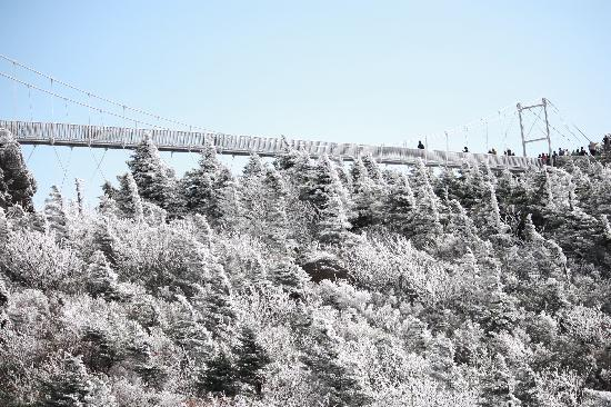 Linville, NC: The bridge was covered with ice