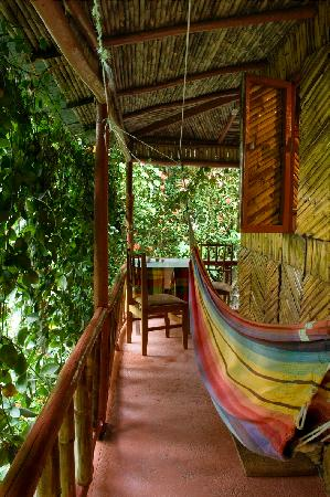 Tia Bamboo Cottages: Hammock on the verandah, screen of living foliage