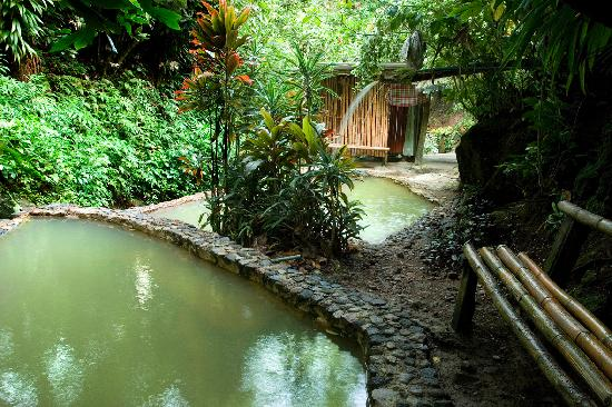 Tia Bamboo Cottages: Two of the private hot sulphur pools