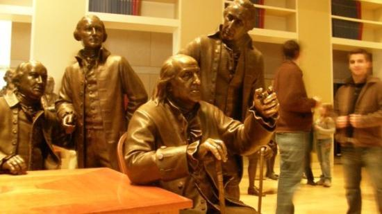 National Constitution Center: Inside the Constitution Center a statue of Ben Franklin sitting