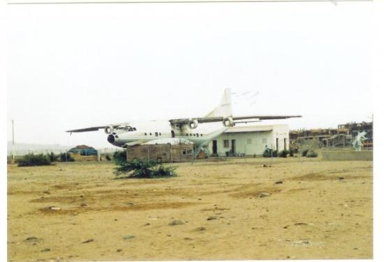 """Massawa """"airport"""". (actually, just on the right is the coach station) It's an Aeroflot plane, g"""
