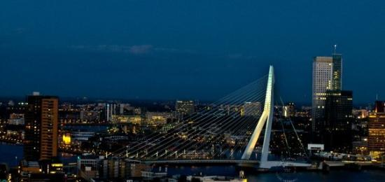 Erasmus Bridge: This is the view from the space tower of  Euromast to the Erasmusbrug