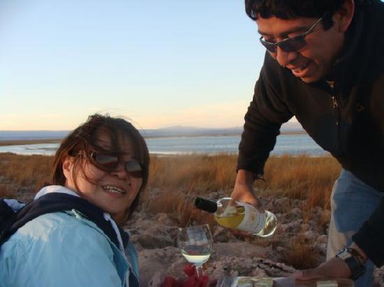 Awasi Atacama - Relais & Chateaux: cheese & wine at salt lake
