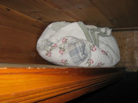 Shore Acres Lodge: A bundle of dirty sheets and stuff in the closet.
