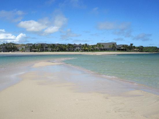 InterContinental Fiji Golf Resort & Spa: Hotel seen from the sandbar at low tide