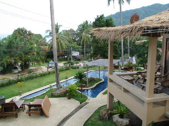 Khanom Hill Resort: View over the children's pool from porch.