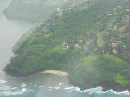 Sealodge at Princeville: Sealodge (far left)  and beach from or hele tour