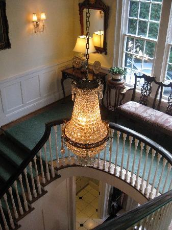 The Morehead Inn: Chandelier, bannister, seen from second floor