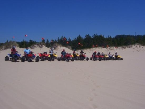Winchester Bay, OR: My big group of ATV riders.