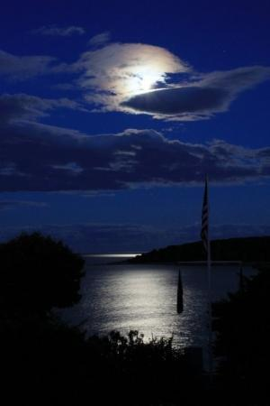 Moon over the York Harbor Beach (7/4).