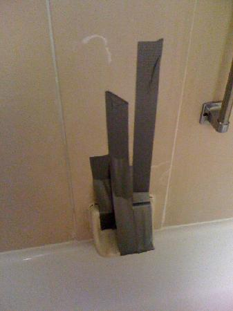 Hampton Inn Birmingham / Fultondale I-65: Soap holder held up with duct tape