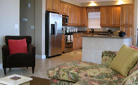 White Cap Suites: View to the kitchen with granite counters