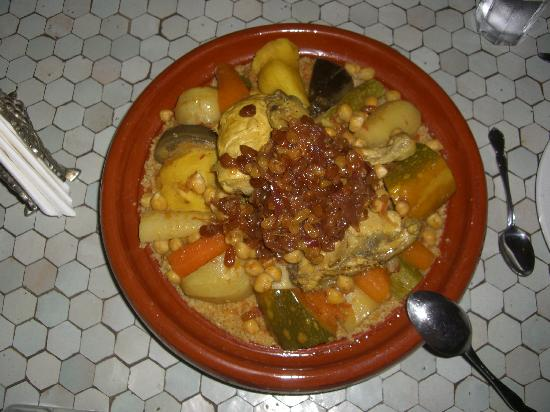 Couscous at dinner in Riad Slawi