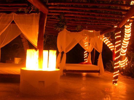 Desire Riviera Maya Resort : The Swings by the Lobby Bar at night