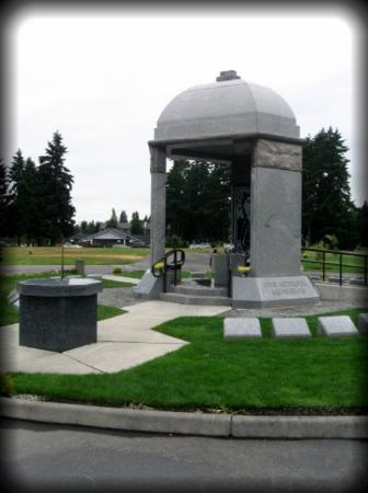 Renton, WA: The memorial is a granite dome supported by three pillars under which Jimi Hendrix is interred.