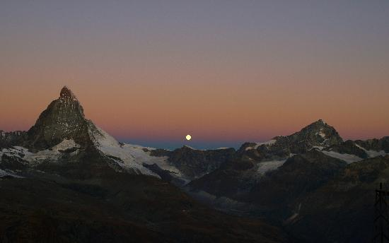 3100 Kulmhotel Gornergrat: The Matterhorn and the moon.