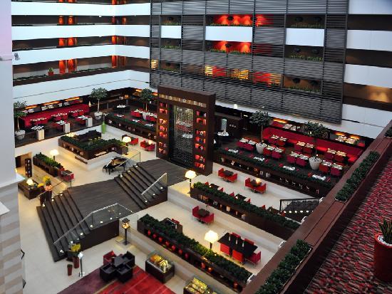 Sofitel Budapest Chain Bridge: Inside looking down on restaurants