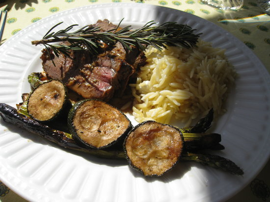Lajollacooks4u: Grilled beef tenderloin in a mustard-garlic sauce, orzo tossed with lemon & feta, grilled veggie