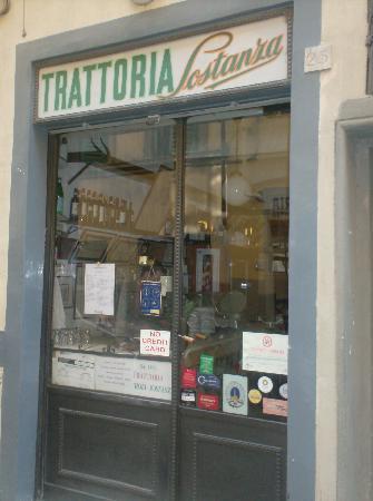 Front door of Trattoria Sostanza.