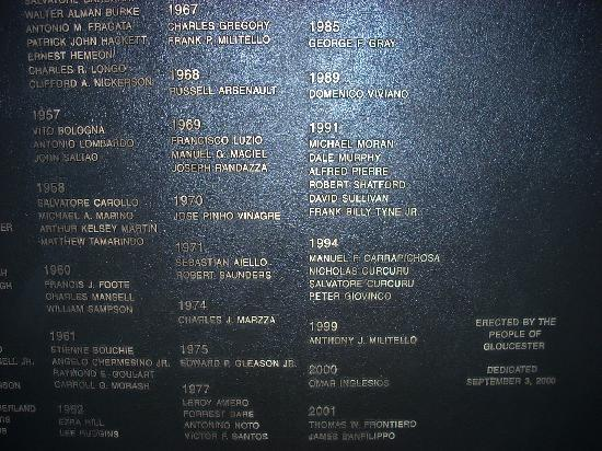 Gloucester, MA: The crew of the Andrea Gale is memorialized under the year 1991.