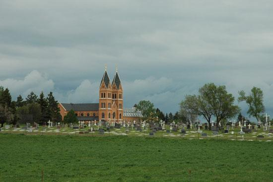 Assumption Abbey: view from highway 10, St Mary's cemetary & church