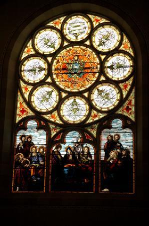 Assumption Abbey: one of numerous stained glass windows