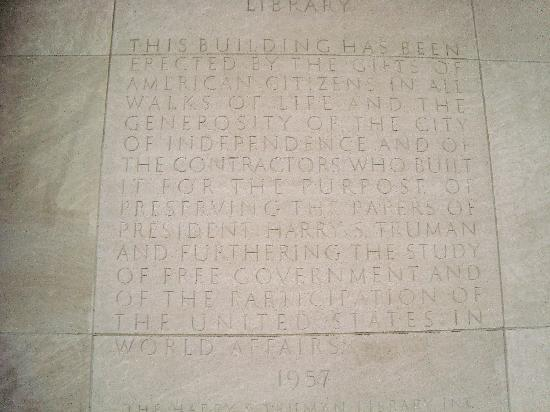 Harry S. Truman Library and Museum: Inscription on building