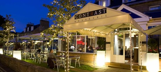 Contrast Brasserie by the River Ness picured at night