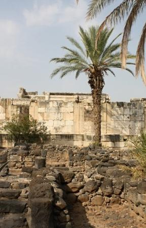 Ruins of Capernaum - the old city on the shore of the sea of Galilee where Jesus taught - the ba